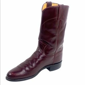 VTG Justin Burgundy Leather Cowgirl Boot